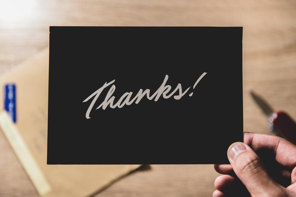 message saying thanks